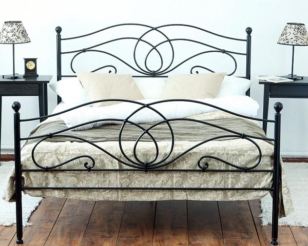 Łóżko metalowe kute Iris dwa szczyty