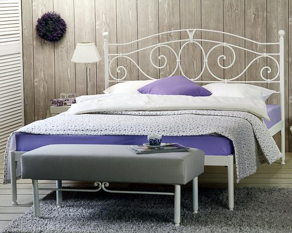 Łóżko metalowe kute Sylvia jeden szczyt