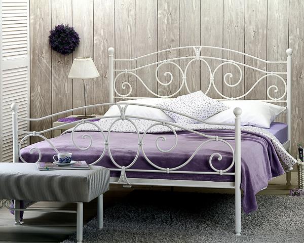 Łóżko metalowe kute Sylvia dwa szczyty